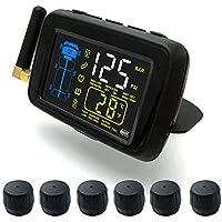 Monitor de presión de neumáticos de automóvil, DC8V-DC30V Sistema Universal de monitoreo de presión de neumáticos inalámbrico para Autos/Camiones TPMS con Pantalla LCD