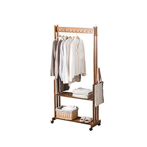 Barture Garderobe Garderobenständer Kleiderbügel Kleiderständer Holz Eingangslagerregal Mit Haken Einfache Installation Universalrad 2 Größen (Size : 70X166CM)