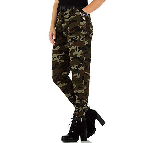 Ital-Design High Waist Camouflage Jeans Für Damen, Grün In Gr. L/40