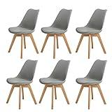H.J WeDoo Lot de 6 chaises de Salle à Manger scandinaves, Chaises Rétro Tulip Bois de chêne Massif - Gris
