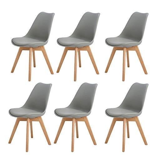 H.J WeDoo 6er Set Esszimmerstühle mit Massivholz Eiche Bein, Küchen stühle mit Gepolsterter für ESS und Wohnzimmer - Grau (Stühle-paket)