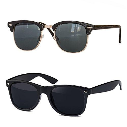 Retro Sonnenbrille Clubmaster clubma Vintage Sonnenbrille (2er Set | Clubmaster schwarz + Wayfarer schwarz)