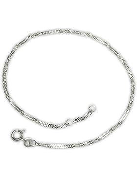 CLEVER SCHMUCK Silbernes elegantes Fußkettchen Singapur 25/27 cm gedrehte Optik, stabil und glänzend schlicht...
