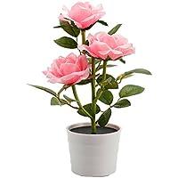 Lampe Solaire Fleur LED en forme de Rose Bouquet Roses artificielles lumière led Lampe fleur decoration pour maison, cour, boureau(Rose)