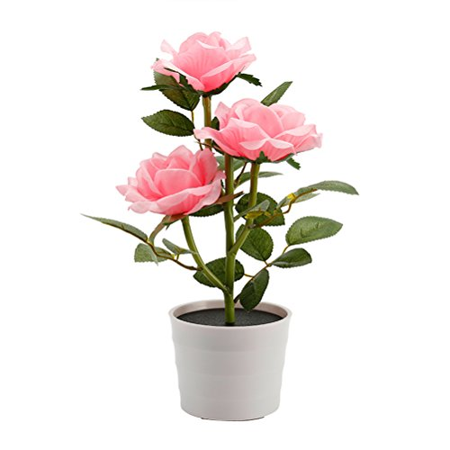 LEDMOMO Solar Flower Pot LED-Licht Rose Blume Tischlampe 3 Lichter Blume LED flexible Blume Schreibtischlampe für Home Garden Room Dekoration (Pink) Flexible Led-licht