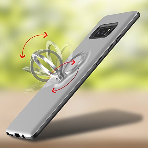 iPhone X Hülle,MOONESS Slim Fit Schlagfesten Stoßstangen Bumper Case mit Ring Halter Handyhülle für iPhone X 5.8 pollici(Schwarz) Silber