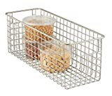 mDesign Deep Wire Storage Basket for Kitchen, Pantry, Cabinet - Pack of 2, Satin
