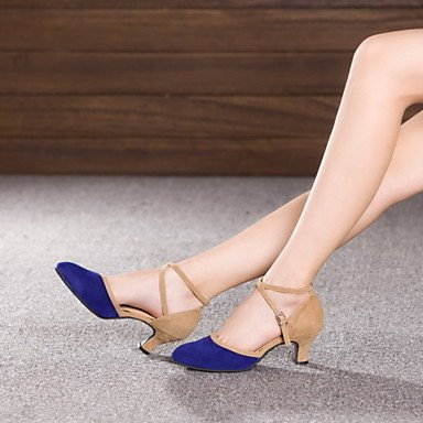 XIAMUO Nicht anpassbar - Die Frauen tanzen Schuhe Leder/Lack Leder Leder/Lackleder Latin/Jazz Heels kubanischen HeelPractice/Beginner/ Kamel