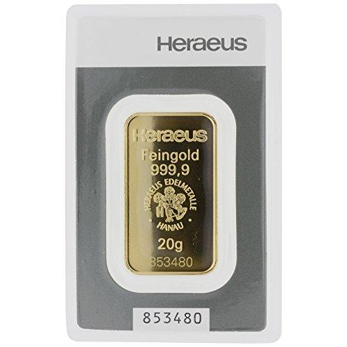 Goldbarren Heraeus - geprägt - Kinebar - 20g Feingold 999,9/1000 im Hersteller Blister - 20 Blister