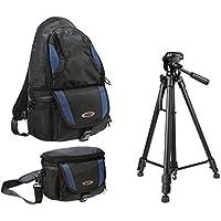 Appareil Photo Sac à Dos et Sacoche All in One Set avec Sac trépied de Voyage avec trépied pour Canon EOS 750D 80D 1200D 6D 1300D Nikon D3300D7200D5500D500D750d3400Pentax Leica et Plus