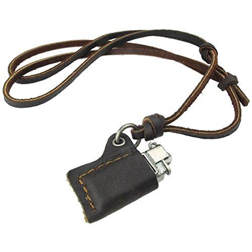 feuerzeug kette Herren Halskette - TOOGOO(R) Schmuck Herren Halskette, Feuerzeug Modell Legierung Anhaenger mit Verstellbaren Groessen Leder Seil Kette, Braun