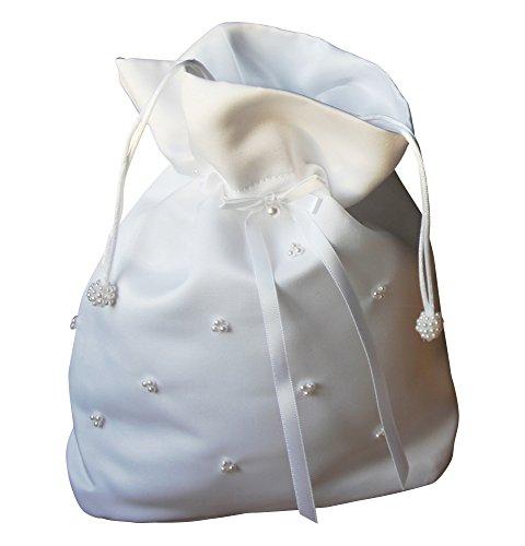 BIMARO Kommunionbeutel weiß Satin Perlen Beutel Tasche Mädchen Kommuniontasche Hochzeit Kommunion