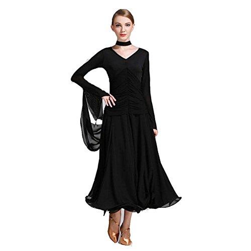 OOARGE Frauen Modern Waltz Tango Tanzen Kleidung Ballroom Tanz Röcke , black , (Für Tanz Weniger Outfits)