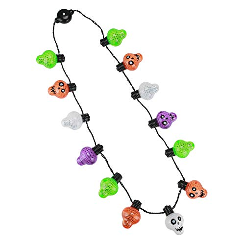 Hautton Halloween Lichterkette Halskette für Kinder Jungen Mädchen, LED blinkende Halskette Lichterketten Dekoration Cosplay Kostum Party Spielzeug - Schädel