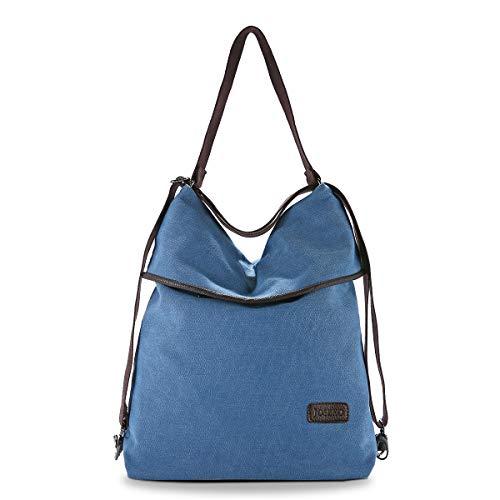 JOSEKO Canvas Tasche Segeltuch Schultertasche Damen Rucksack Handtasche Vintage Damen Umhängentasche für Reise Outdoor Schule Einkauf Alltag Büro Blau