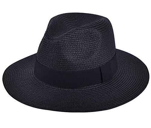 DRESHOW Damen Breiter Krempe Stroh Sommer Panama aufrollen Hut Fedora Strand Sonnenhut UPF50 + (Sommer Stricken Hut)