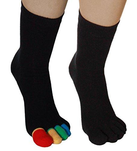 One Size 2 Paar Einzelzehensocken  Socken schwarz bunte Zehen