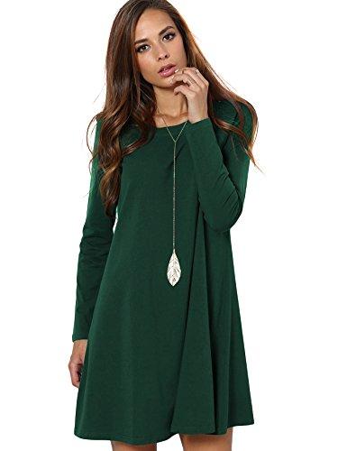 DIDK Damen Casual Kleider Lose Elegant Minikleider Einfarbig Tunika Langarm Rundhals Kleid Grün L