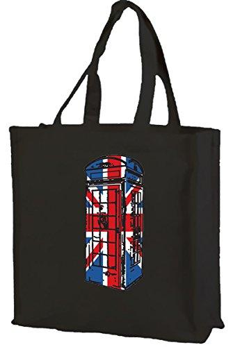 Best of British, cabina telefonica Union Jack-Borsa per la spesa, in cotone (nero)