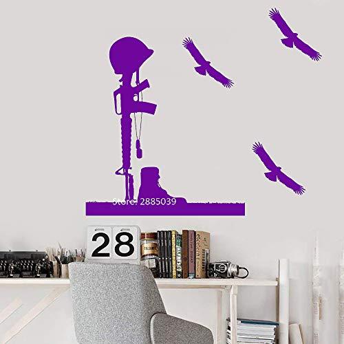 guijiumai Adesivi murali Fucile Casco Soldato Freddo Vinile Marino Fai da Te Autoadesivo Caduto Decalcomania murale Arte casa Decorazione della Parete Gioco LC 4 XL 110 cm x 124 cm