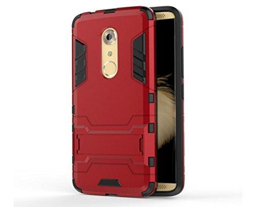 Bllosem ZTE Axon 7 Hülle Hybride Dual-Layer PC+TPU Kompletter Schutz Standfunktion Tasche für ZTE Axon 7 Rot