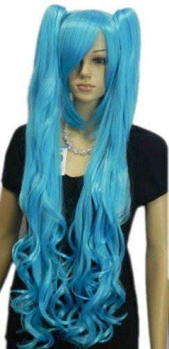 men Perücken Meer Blau Langen Lockigen Pferdeschwanz Zwei Niedlichen Haar Voller Anime Cosplay Kostüm Perücke (Niedlichen Anime Kostüme Für Halloween)