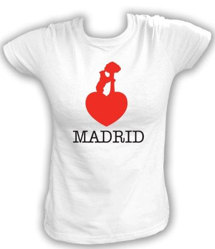 Artdiktat T-Shirt Madrid Liebe Bär Damen, Größe XL, weiß