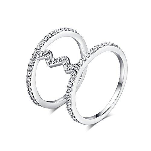 barbie, anello da ragazza e donna, anello in oro bianco, anello con due cerchi, anello moda , anello di squisita fattura #BSJZ063 (17.8)