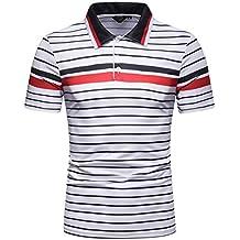 LuckyGirls Camisetas de Manga Corta Rayas Deportivas Top Blusa Moda Entallada Casual Remeras T-Shirt