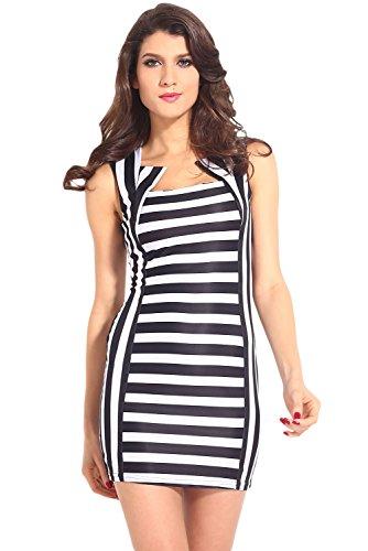 E-Girl femme Noir Blanc SY21083 mini robe Noir Blanc
