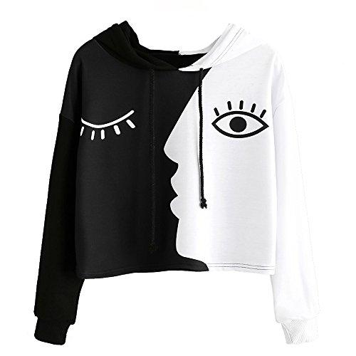 Damen Auge Gedruckt Sweatshirt Langarm Weiß Kurz Tops Bluse-Frauen mit Kapuze Crop Patchwork Bluse Pullover -Frauen Streetwear-Damen Bluse-Damen Hoodies Mit Plus ()