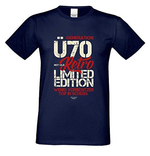 Geschenk zum 70. Geburtstag :-: T-Shirt als Geschenkidee :-: Generation Ü70 :-: Geburtstagsgeschenk für Sie und Ihn Mama Papa Mutter Vater :-: auch Übergrößen Farbe: navy-blau Navy-Blau