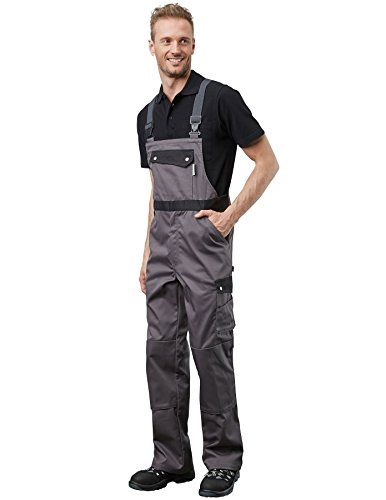 PIONIER WORKWEAR Herren Latzhose Active Style in schwarzgrau (Art.-Nr. 2688) grau/schwarz,Größe 60
