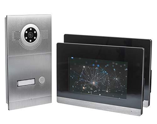 GVS IP Video Türsprechanlage, Unterputz-Türstation IP65, 2X 7 Zoll Monitor, Handy-App, HD-Kamera 115°, Türöffner-Funktion, 32GB Foto-/Video-Speicher, PoE-Switch, 1 Familienhaus Set, AVS2036U -
