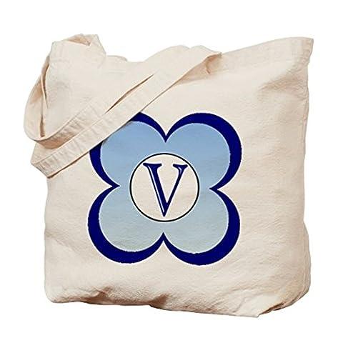 CafePress–Monogramm (V)–Leinwand Natur Tasche, Reinigungstuch Einkaufstasche