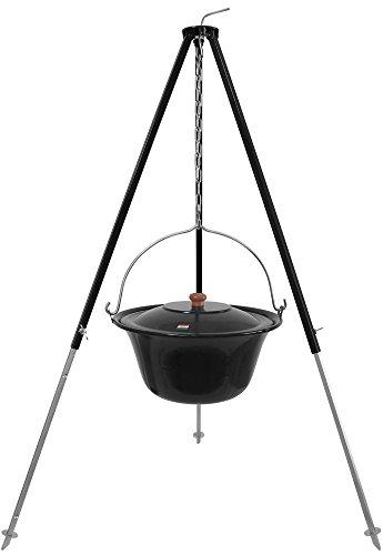 10 L Gulaschkessel mit Dreibein schwarz 1,30 m und Deckel emailliert (10 Liter Topf Kesselgulasch Set)
