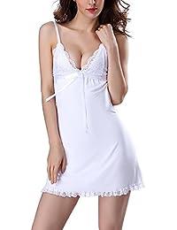 Frauen Nachthemd Kleid Nachtwäsche kleider Babydoll Lingerie Sleepwear mit Satin & Spitze Casual Kleid