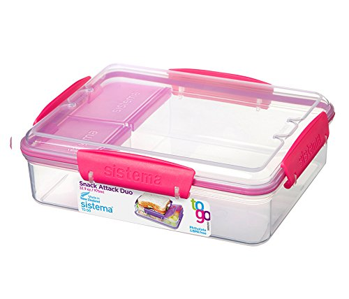 Sistema Lunch Snack Attack Duo 'to go' - 975 ml transparent/pink