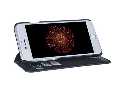 """Antic iPhone 6 / iPhone 6S ECHT LEDER Tasche """" Pan Book"""" Case Handy Tasche Hülle Etui Anticcase Ledertasche Leder Tasche Cover NEU ! (iPhone 6 / 6S, Vintage Dunkel Braun) Vintage Schwarz"""