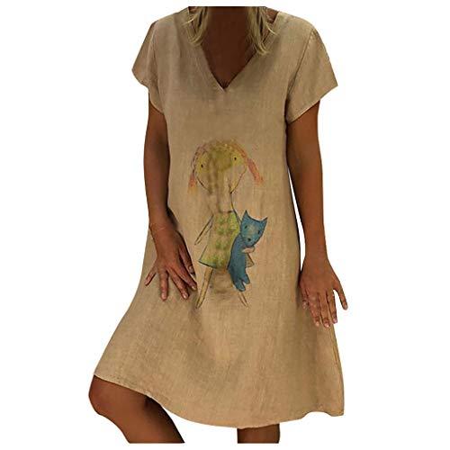 QIMANZI Sommerkleid Damen V-Ausschnitt Strandkleider Einfarbig A-Linie Kleid Boho Knielang Kleid Ohne Zubehör Leinen Kleider (Y Grau,M) - Panel V-ausschnitt Kleid