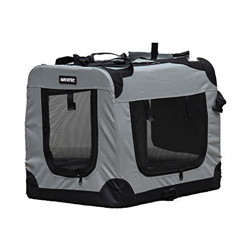 Alaskaprint Hundetransportbox Klappbare Hundebox faltbar Katzenbox Auto Transportbox Reisebox für Tiere Hunde Transporttsche mit Gurt aus wassserdichte Oxford Gwebe M Grau
