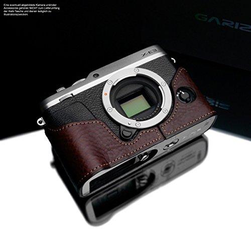 Brown Italienischen Leder Handgefertigt (Kameratasche für Fujifilm X-E3 Kamera | Handgefertigte Fototasche aus italienischem Leder | Tasche für Fuji X-E3 | Farbe Systemkamera Tasche: Dunkelbraun | Farbe Ledertasche Naht: Braun | Gariz Design)