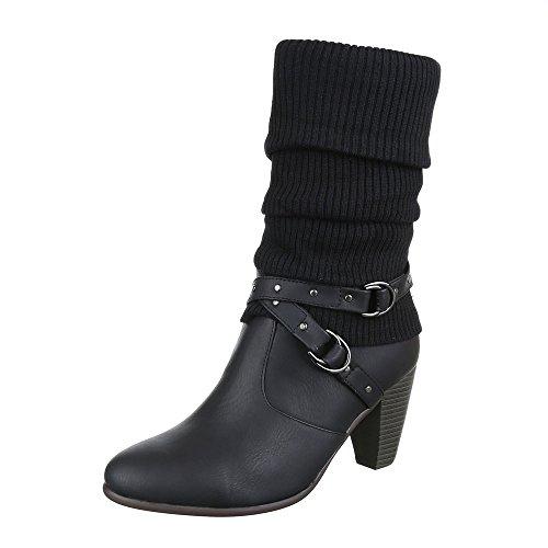 Cowboy- / Westernstiefel Damen Schuhe Cowboy Stiefel Pump Nieten Besetzte Reißverschluss Ital-Design Stiefel Schwarz, Gr 39, Cy012-