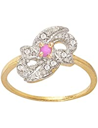 SKN Silver And Golden American Diamond Solitaire Party Alloy Ring For Women & Girls (SKN-3415R)