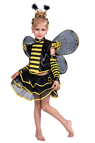 Mädchen Bumble Bee Kleid Honeybee Fancy Dress Up Outfit Fee Ballerina Tutu Rock Set Cosplay Kostüm Gelb