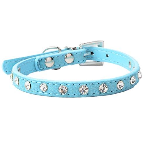 Malloom® Strass Einstellbar Leder Hund Welpen Katze Halsbänder Halskette Hals (blau)