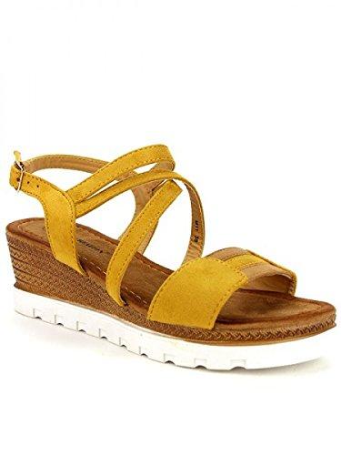 Cendriyon, Compensée Simili cuir Color Moutarde CH MODE Chaussures Femme Jaune