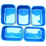 Sampada Synthetics Unbreakable Rectangular Plastic Bucket Basin Tub (Blue, Medium) - Pack of 5 Pieces