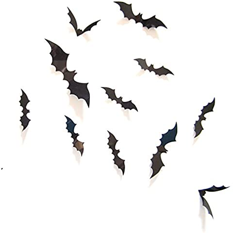 Ularma 12pcs 3D DIY palo de PVC etiqueta de la pared, decoración de Halloween de la etiqueta Inicio (negro)