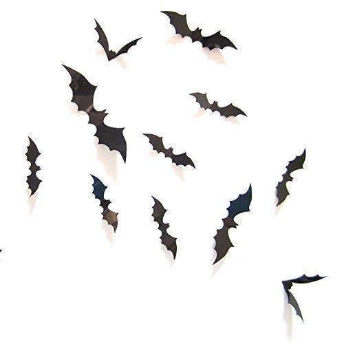 ZARU 12 schwarz 3D DIY PVC-Schläger-Wand-Aufkleber-Abziehbild-Ausgangs Halloween
